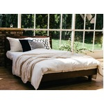 宮付き 二口コンセント付き ウォールナット材 すのこベッド ダブル (フレームのみ) ブラウン 『Secta』 ベッドフレーム