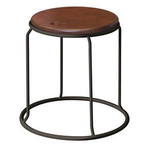 北欧風 スツール/丸椅子 【同色5脚セット ダークブラウン×ブラック】 幅415mm スチール 『ウッド リンクスツール』
