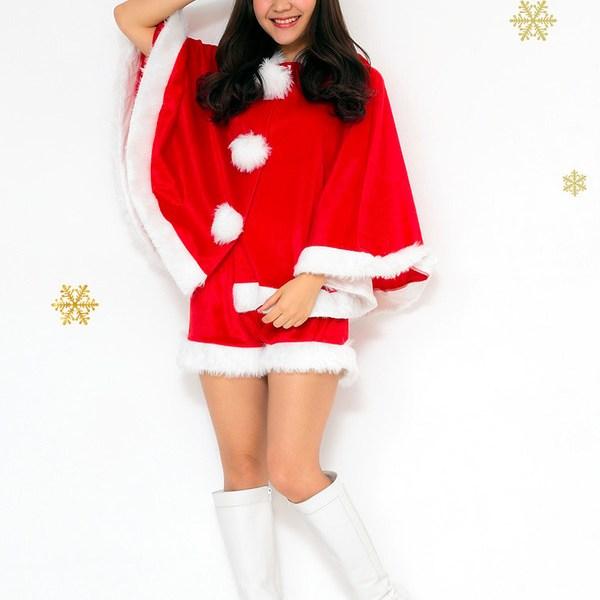 【クリスマスコスプレ】Peach×Peach レディース キュートサンタ ポンチョ&ショートパンツ  ハロウィン コスプレ 衣装店