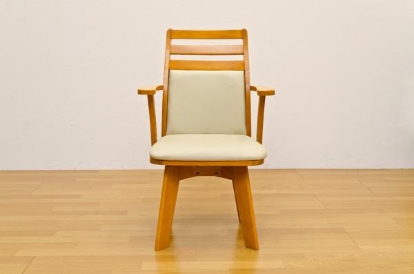 ダイニングチェア(回転椅子/リビングチェア) 1脚 木製 張地:合成皮革/合皮 肘付き BENSON ライトブラウン