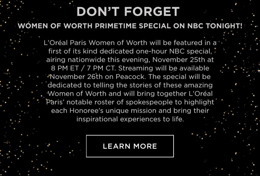 Don't Forget Women Of Worth Primetime Special On Nbc Tonight! - Learn More