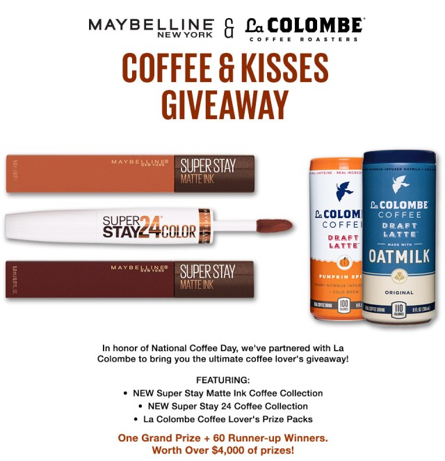 Maybelline New York And La Colombe Coffee Roasters - Coffee And Kisses Giveaway