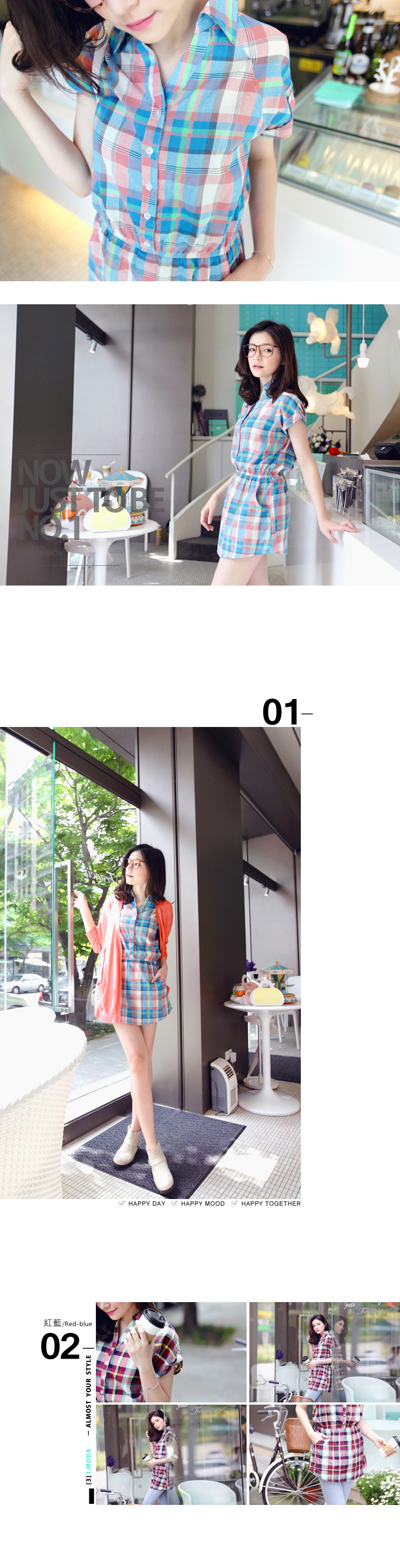ob嚴選衣 新年必備0924新品 彩色心情~繽紛格紋縮腰襯衫洋裝‧2色 ...