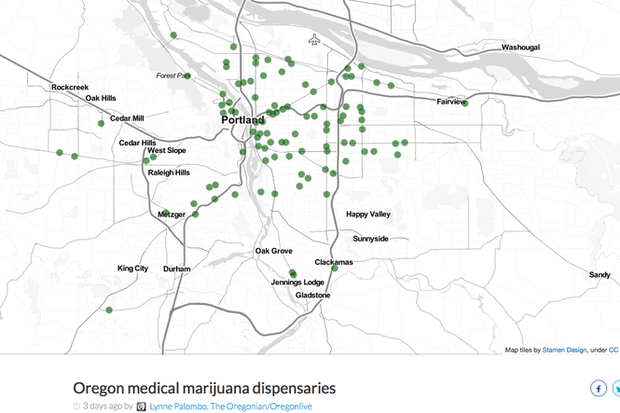 Where are medical marijuana dispensaries in Oregon? Hint