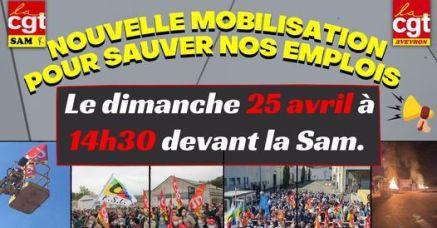 Rassemblement devant la SAM dans le bassin de Decazeville dimanche 25 avril