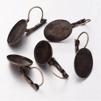 Wholesale Brass Leverback Earring Findings, Oval, Earring ...