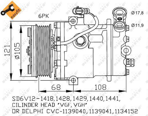 Air Con Compressor 32172 NRF AC Conditioning 09132922