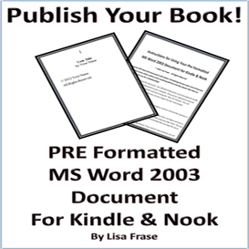 Pre Formatted MS Word 2003 Document for Kindle & Nook