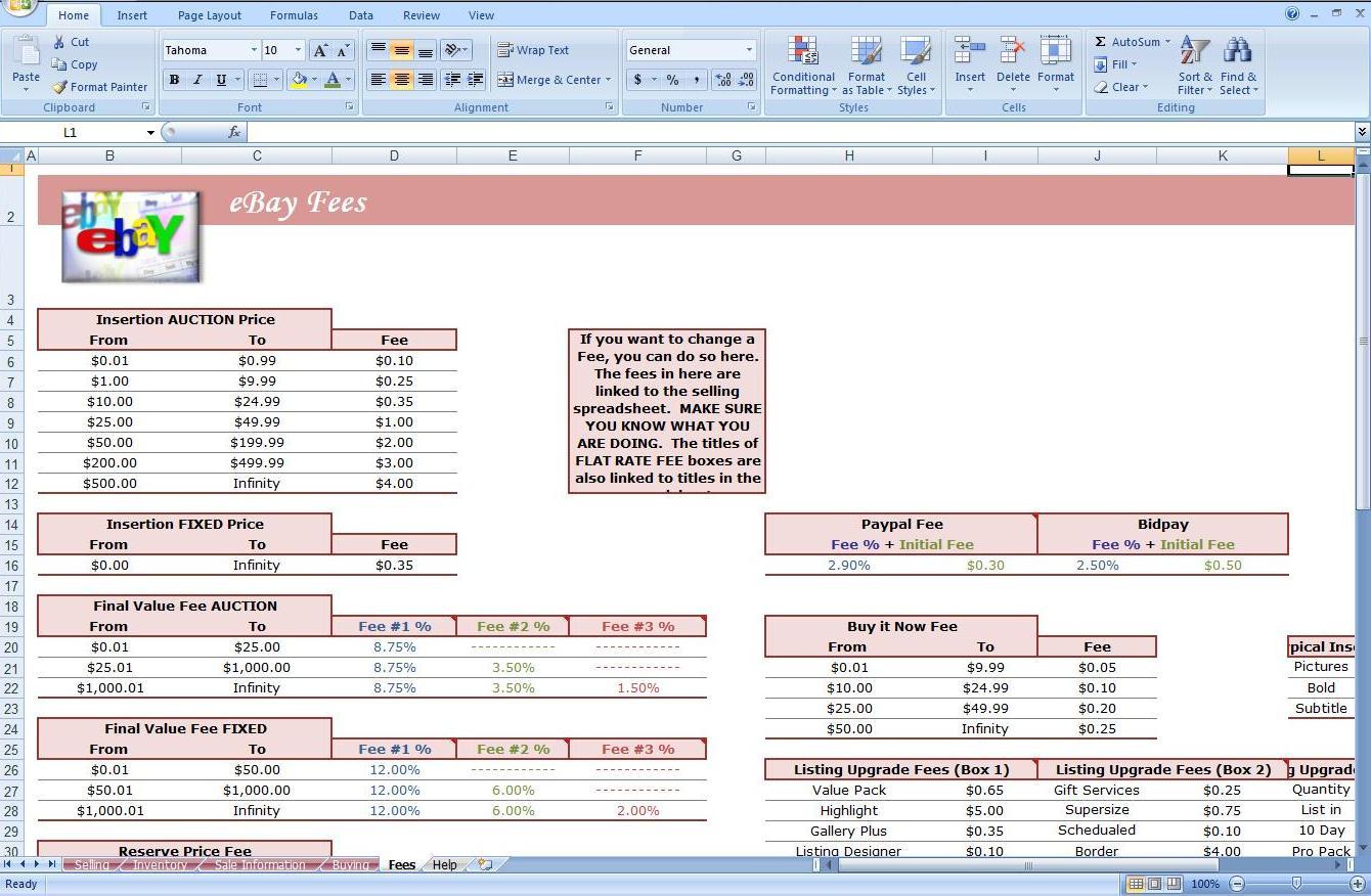 Ebay Quick Calculator Excel Spreadsheet