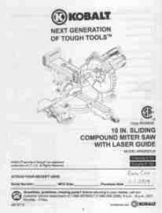 Kobalt 10 In. Sliding Compound Miter Saw Manual