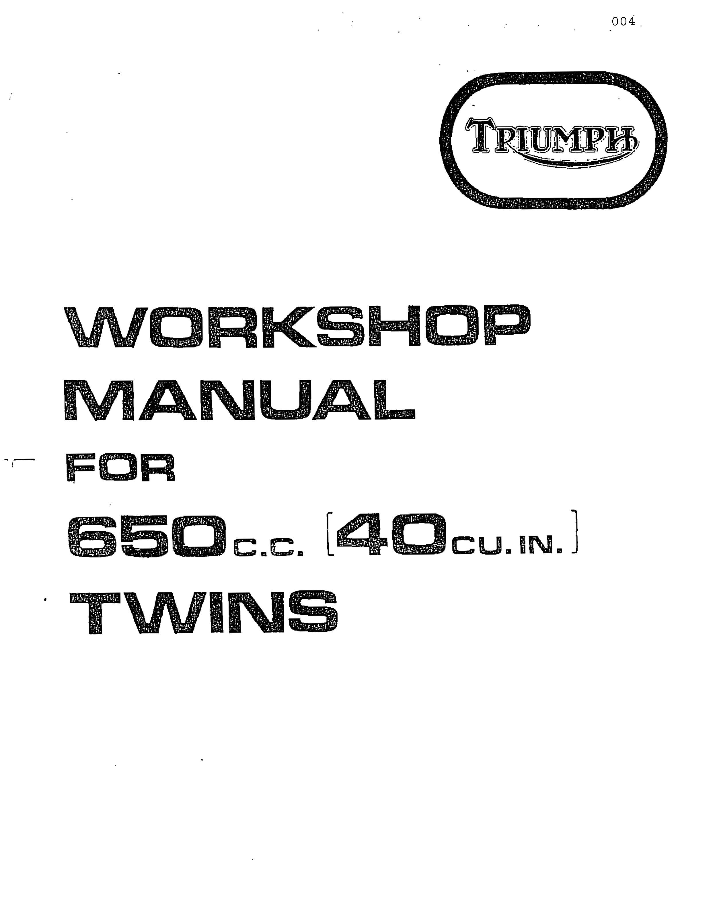Triumph Shop Manual Bonneville Tiger Trophy 650 cc 1971