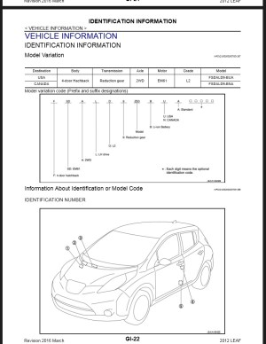 2012 Nissan Leaf ZE0 Service & Repair Manual & Wiring