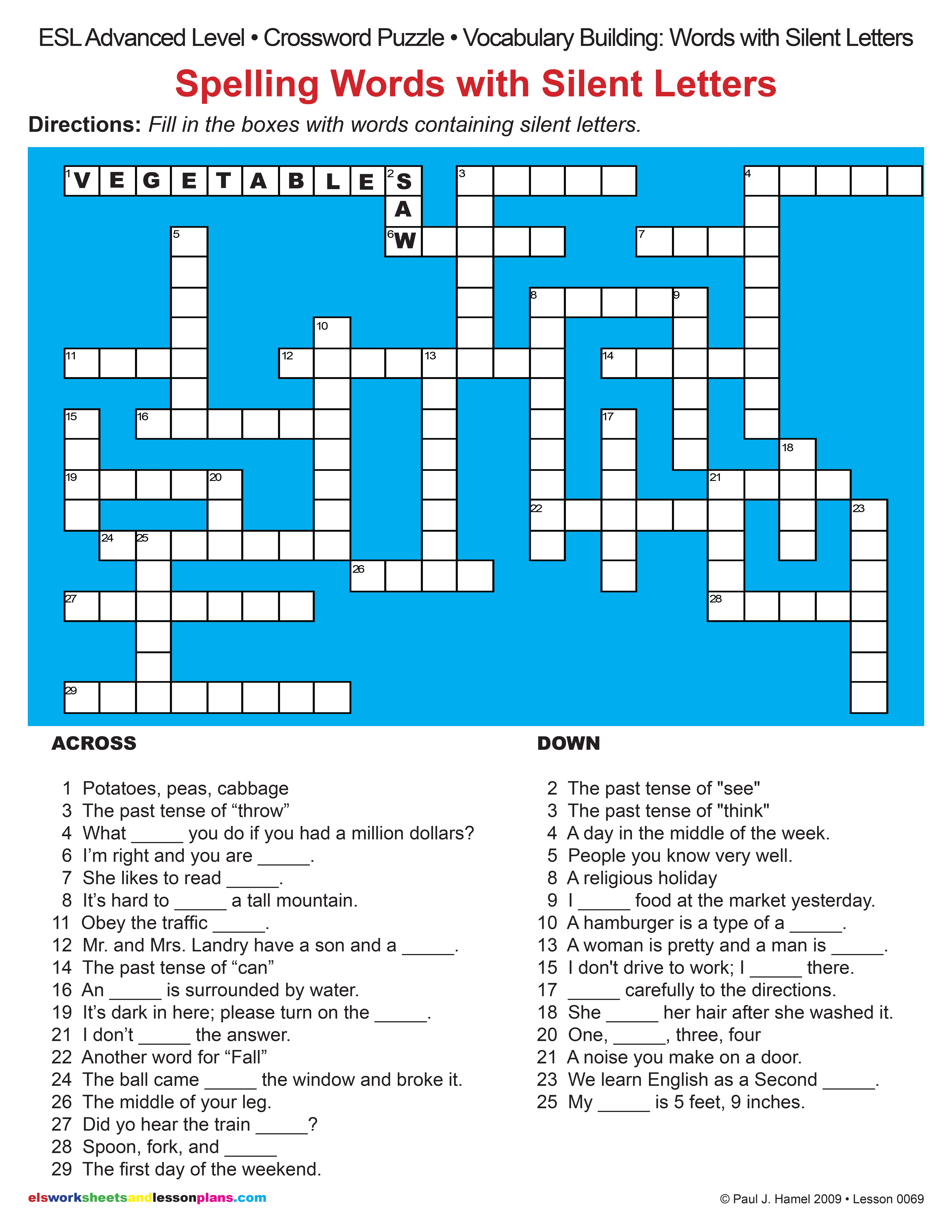Esl Spelling Words With Silent Letters Crossword