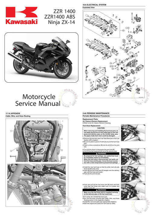 2008-09 Kawasaki ZZR1400, ABS/Ninja ZX-14 Workshop Repair