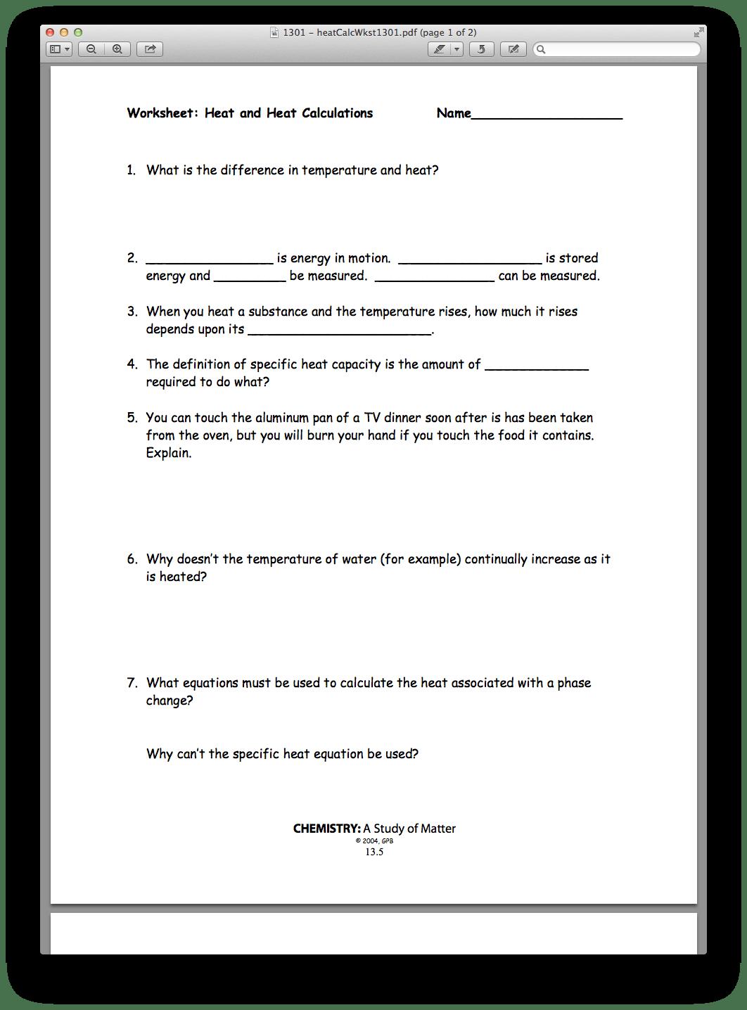 Chemistry Worksheet Matter 1