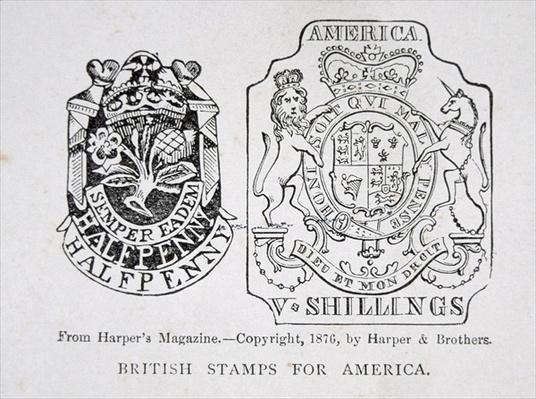 British stamps for America, 1765, pub. in Harper's