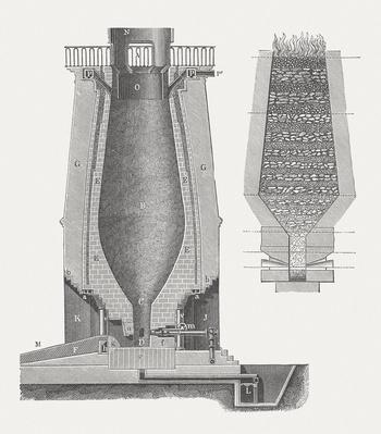 Blast furnace for iron, published in 1875