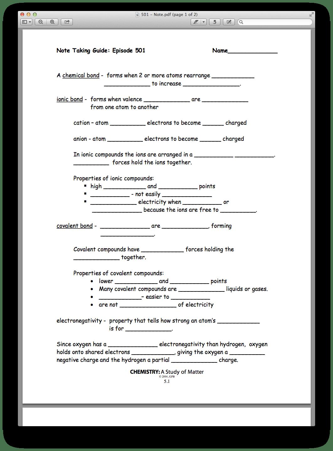 Worksheet Introduction To Bonding