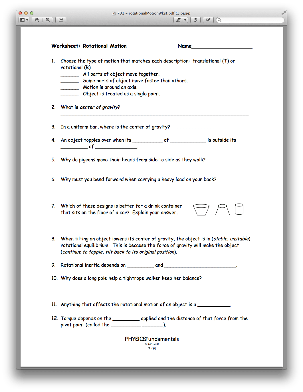 Circular Motion And Inertia Worksheet Answers