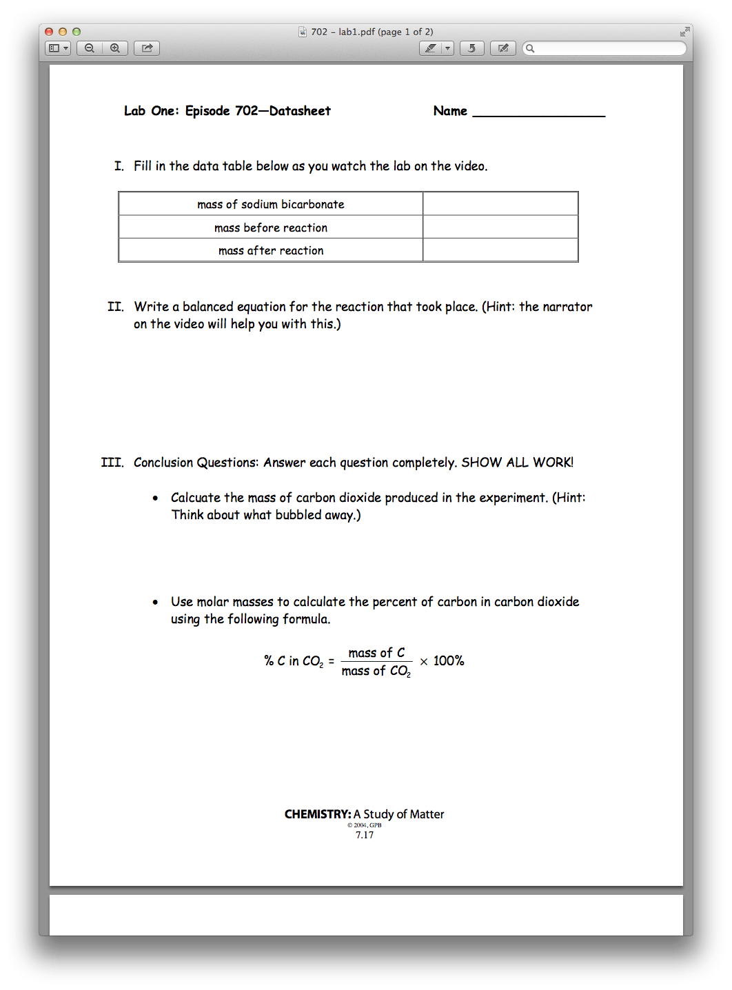 Empirical Formula Worksheet 1 Answers