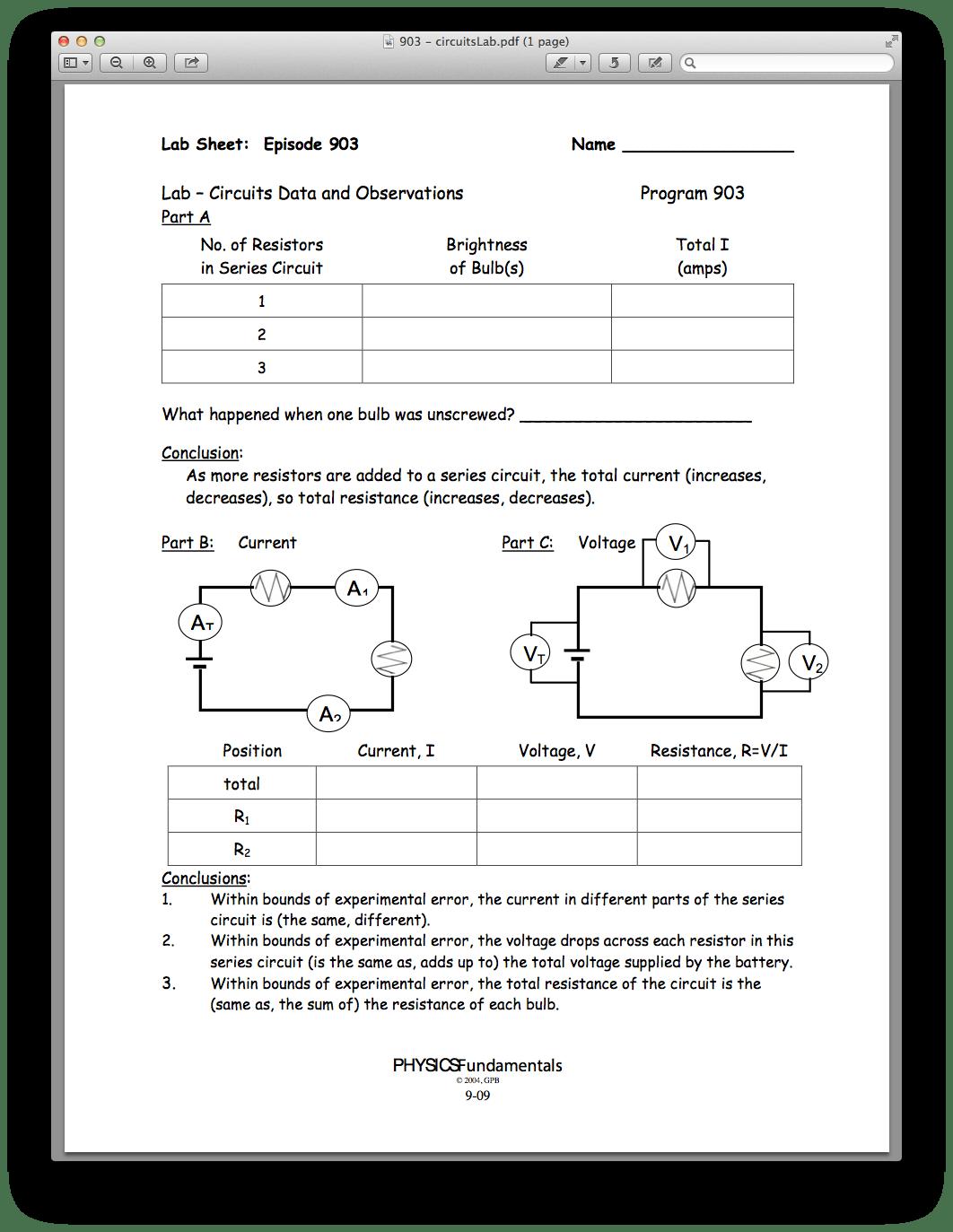 Printables Of Worksheet Series Circuit Problems Episode