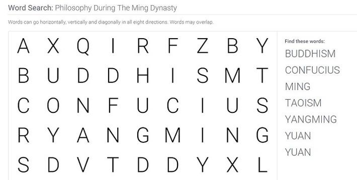 Urbanization During The Ming Dynasty: Word Search Puzzle
