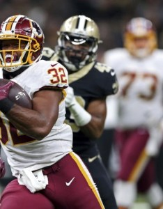 Washington redskins running back samaje perine carries past new orleans saints free safety marcus williams in the first half of an nfl football game also fantasy week waiver wire rbs danny rh pennlive