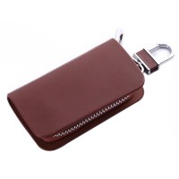 New Men Women Leather Car Key Chain Ring Cases Holder Bag
