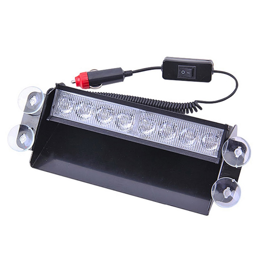 DC12V 8 LED Emergency Vehicle Car Strobe Flash Light Dash