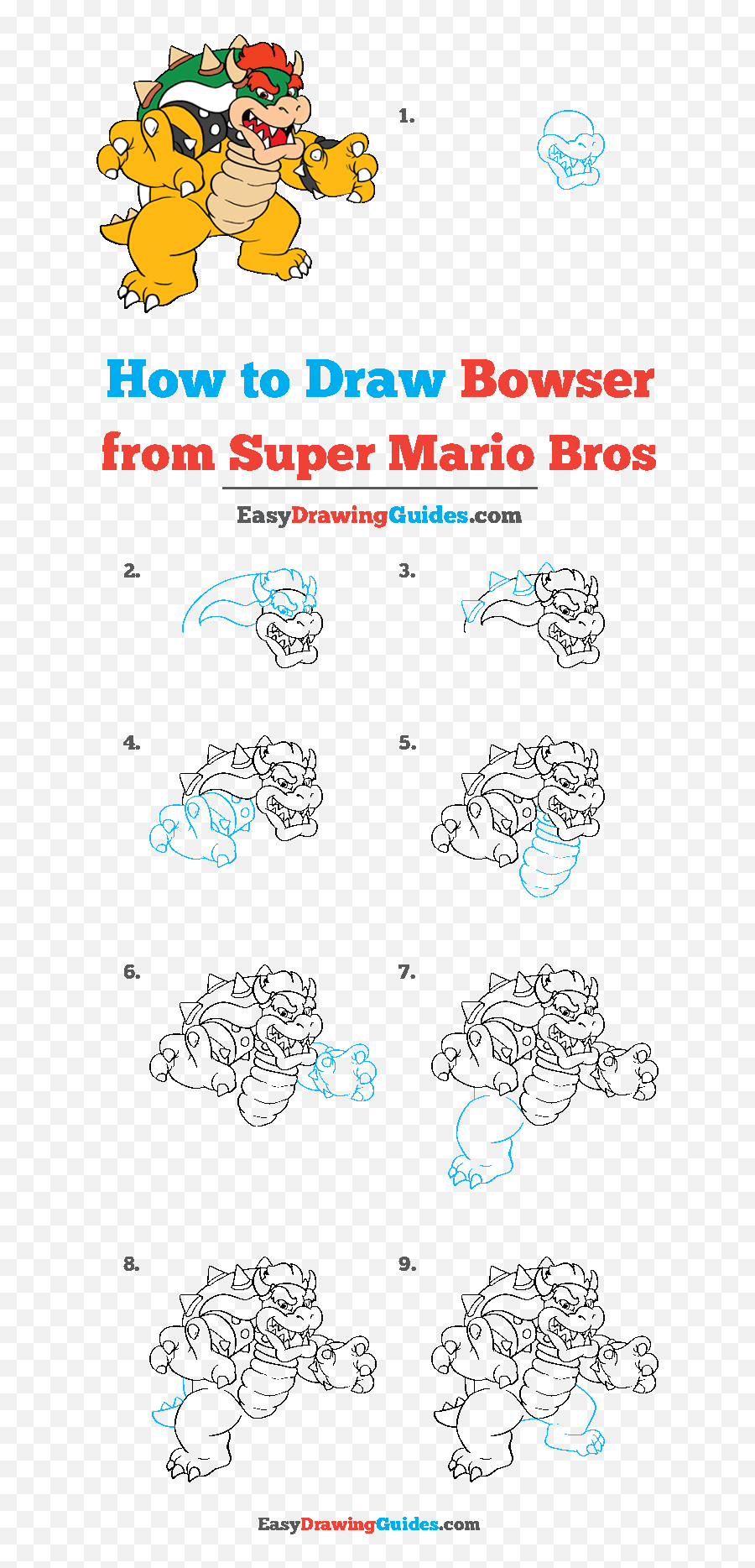 How To Draw Bowser From Super Mario Bros Really Easy Step By Step Super Mario Drawing Png Free Transparent Png Images Pngaaa Com