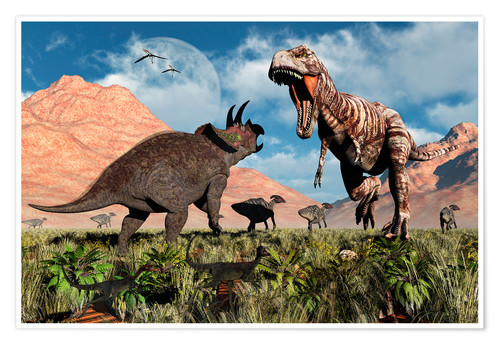 Prehistoric battle between a Triceratops and Tyrannosaurus