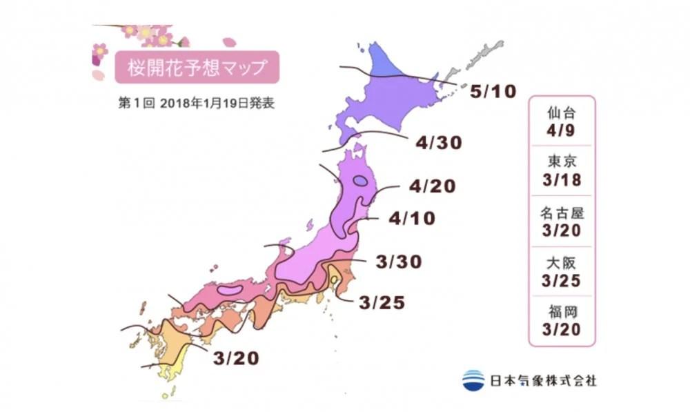 2018年日本櫻花開花第1回預測出爐~可以睇定日期計劃賞櫻之旅 | HolidaySmart 假期日常