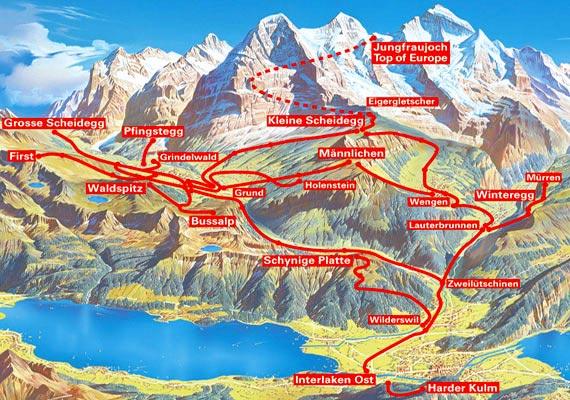 Jungfrau bölgesi harita