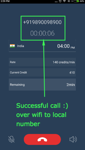 Live call to offline number over wifi internet