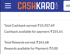 Cashkaro Savings above Rs. 20,000