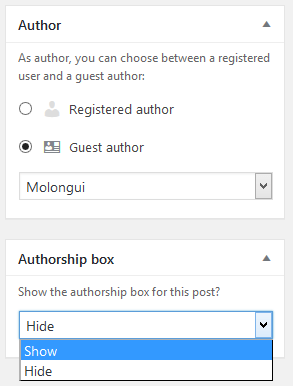 Molongui Authorship post settings