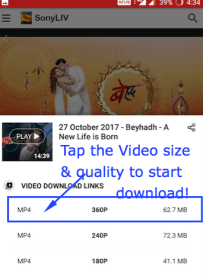 Download Sony Liv videos on Android