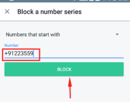 Enter the number in the number field and tap on Block