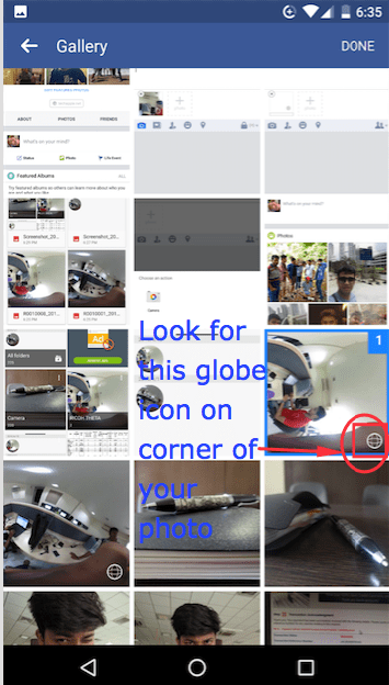 All Photos in Phone Gallery (Globe Icon in photo thumbnail means 360 Photo)