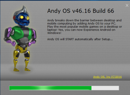 Andy OS Installation Successful