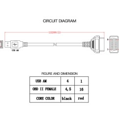 obd2 obdii 16 pin to usb port charger adapter cable connector rh ebay com obd2 connector pinout diagram gm obd2 connector wiring diagram [ 1000 x 1000 Pixel ]