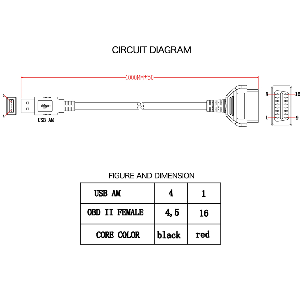 medium resolution of obd2 obdii 16 pin to usb port charger adapter cable connector rh ebay com obd2 connector pinout diagram gm obd2 connector wiring diagram