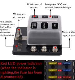 6 way car auto boat bus utv blade fuse box block cover 12v with led indicators [ 1000 x 1000 Pixel ]