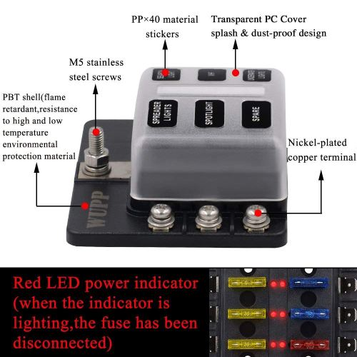 small resolution of 6 way car auto boat bus utv blade fuse box block cover 12v with led indicators