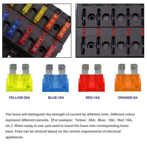 small resolution of 12 way car auto boat bus utv blade fuse box block cover 12v with led indicators