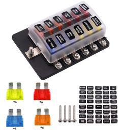 12 way car auto boat bus utv blade fuse box block cover 12v with led indicators [ 1000 x 1000 Pixel ]