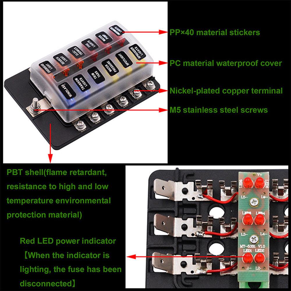 medium resolution of 12 way car auto boat bus utv blade fuse box block cover 12v with led indicators