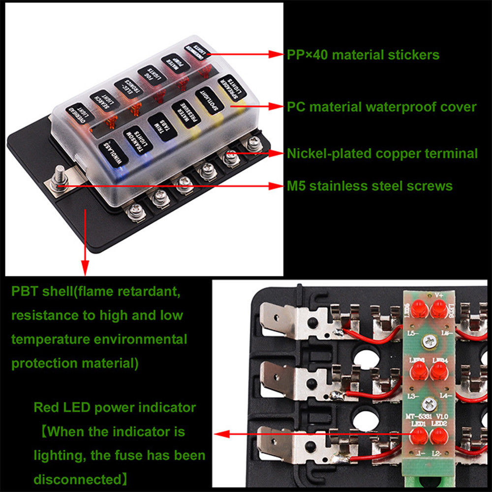 hight resolution of 12 way car auto boat bus utv blade fuse box block cover 12v with led indicators