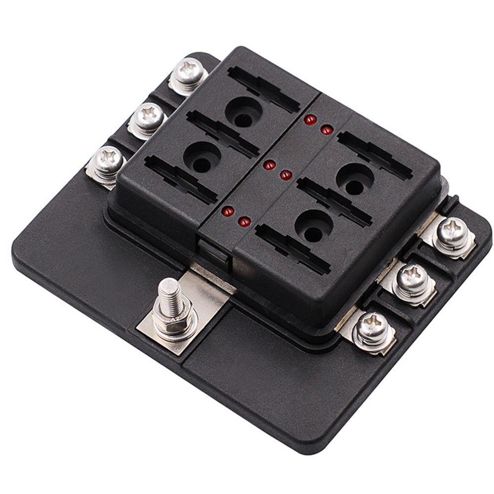 hight resolution of 6 way car auto boat bus utv blade fuse box block cover 12v with led indicators