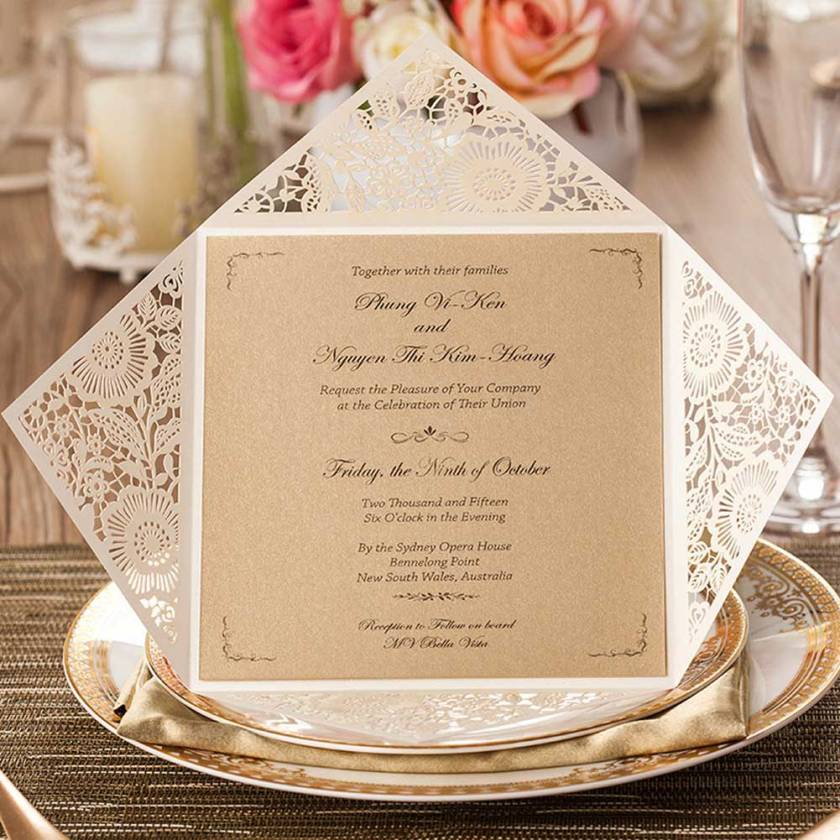 Laser Cut Square Wedding Invitations Cards Ivory Fl With Envelopes Seals